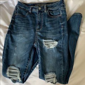 Super high rise ripped jeans